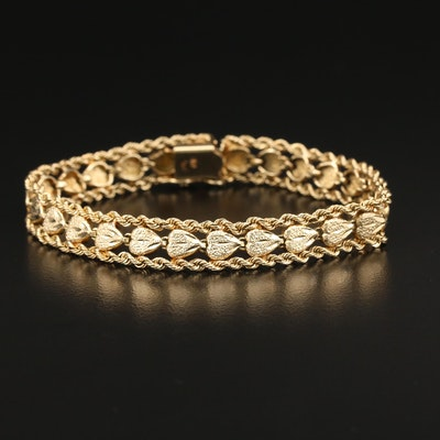 10K Gold Diamond-Cut Fancy Link Bracelet