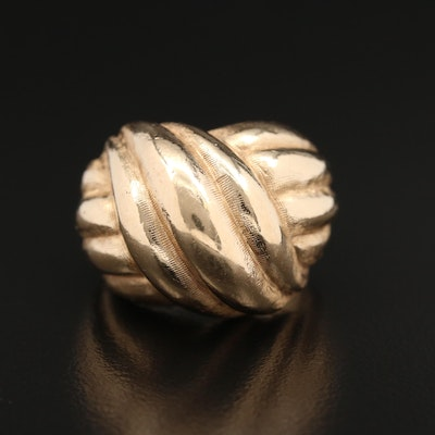 14K Knot Motif Dome Ring