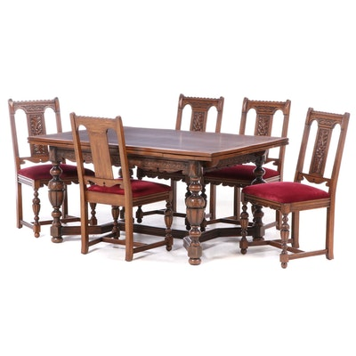 Jacobean Style Oak Six-Piece Dining Set, Early to Mid 20th Century