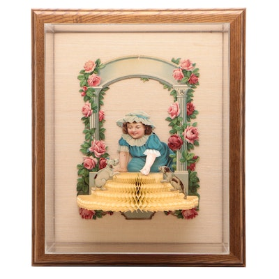 Victorian Era Child and Dogs Paper Decoration in Cased Frame, circa 1900s