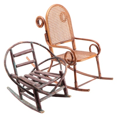 Bentwood Rattan and Wicker Rustic Style Children's Rockers