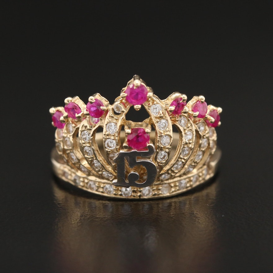 14K Ruby and Cubic Zirconia Quinceañera Crown Ring