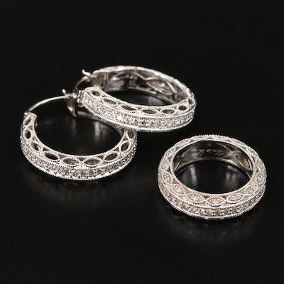 Sterling Silver Cubic Zirconia Ring and Earring Set