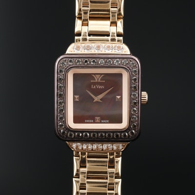 "Le Vian ""Chocolate"" MOP Dial Stainless Steel Quartz Wristwatch"