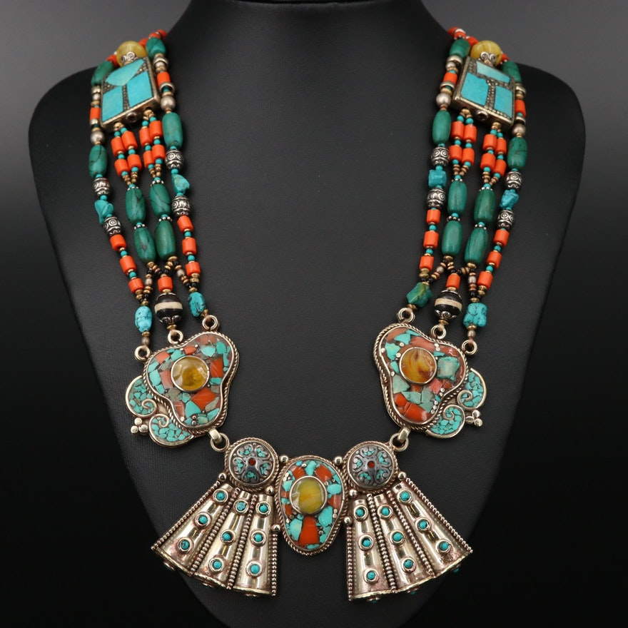 Turquoise and Coral Beadwork and Inlay with Bone Accents