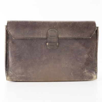 Bottega Veneta Embossed Brown Leather Document Case