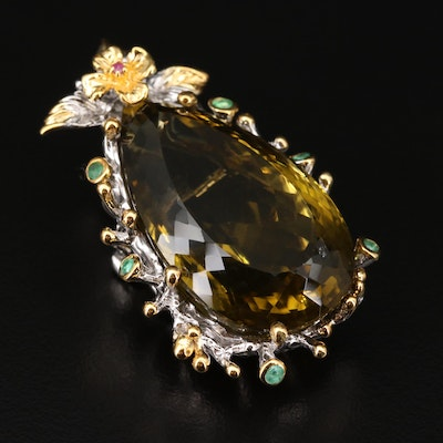 Sterling Silver Citrine, Emerald, and Ruby Foliate Converter Brooch