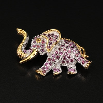 Sterling Silver Rhodolite Garnet and Sapphire Marching Elephant Brooch