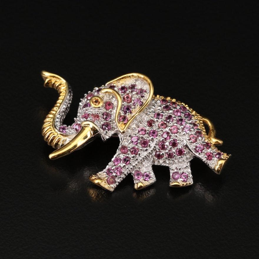 Sterling Silver Rhodolite Garnet and Sapphire Marching Elephant Brooch