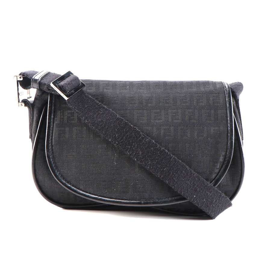 Fendi Zucca Black Canvas and Leather Flap Front Bag