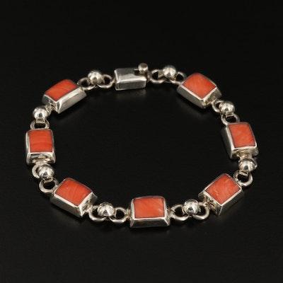 Sterling Silver Rhodochrosite Link Bracelet