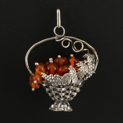 Sterling Silver Amber Woven Basket Charm