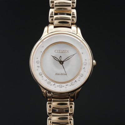 Citizen Eco-Drive Circle of Time MOP and Diamond Dial Gold Tone Wristwatch