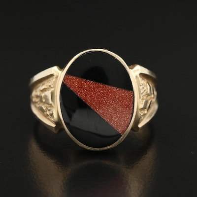 14K Black Onyx and Goldstone Glass Inlay Ring