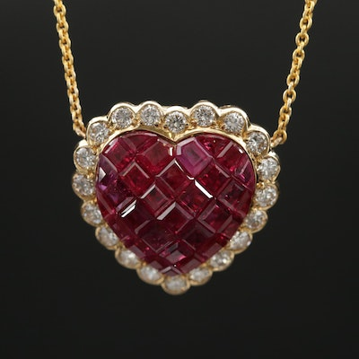 18K Ruby and Diamond Stationary Heart Pendant Necklace