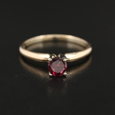 14K Gold Garnet Solitaire Ring