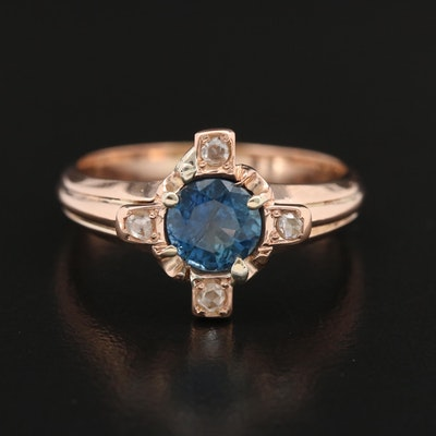 Victorian 14K Gold Blue Sapphire and Diamond Ring