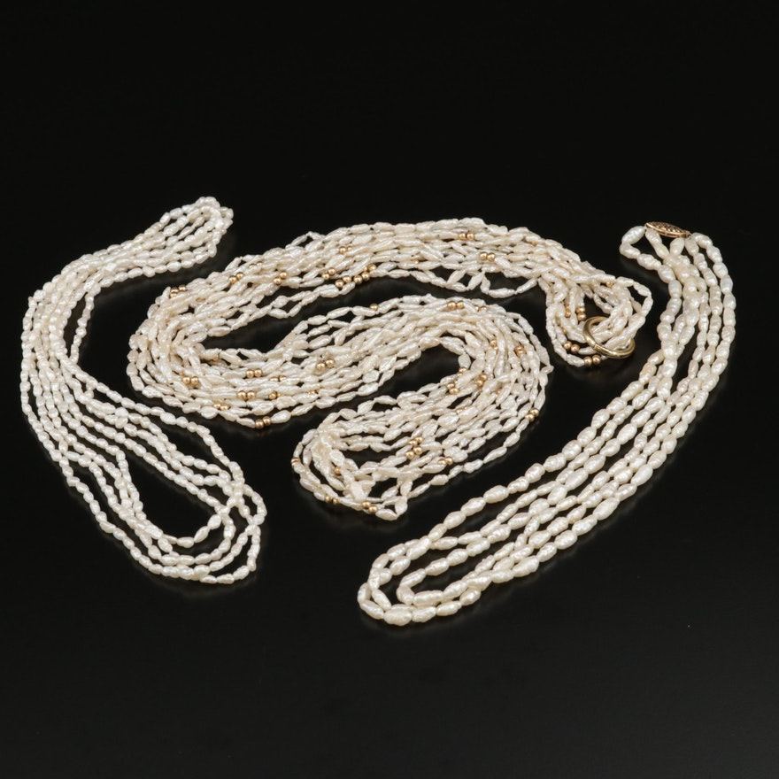 Cultured Pearl Multi-Strand Necklaces Featuring 14K Clasps and Spacer Beads