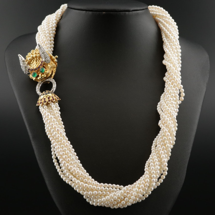 Cultured Pearl Torsade with 18K Diamond and Multi-Gemstone Dragon Clasp