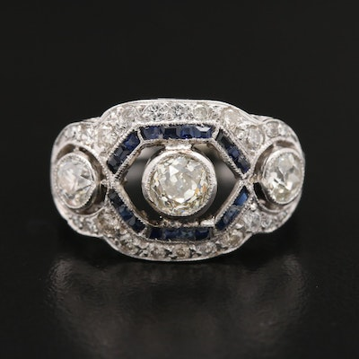 Art Deco Platinum 1.68 CTW Diamond and Sapphire Ring