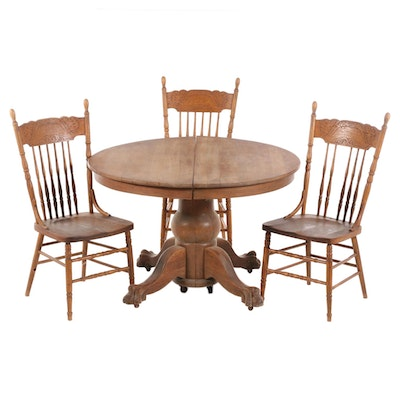Four-Piece Late Victorian Oak Dining Set, Late 19th/Early 20th Century