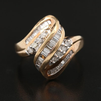 10K Diamond Ribbon Ring