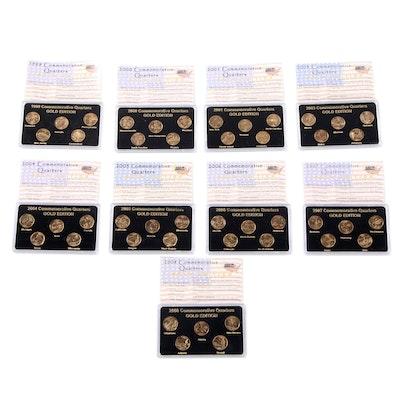 Nine Sets of 24K Layered Gold Commemorative State Quarters