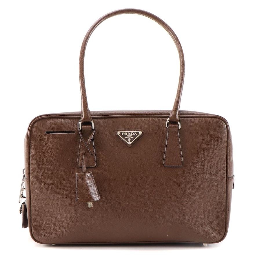 Prada Bauletto Shoulder Bag in Brown Saffiano Leather