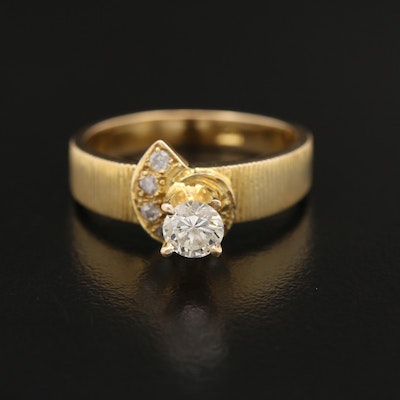 14K Diamond Ring with Textured Shoulders