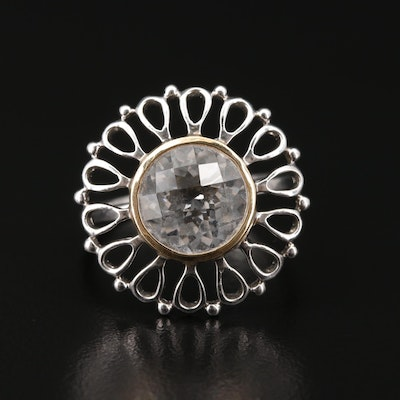 Sterling Silver Rock Crystal Quartz Ring with 18K Gold Accents