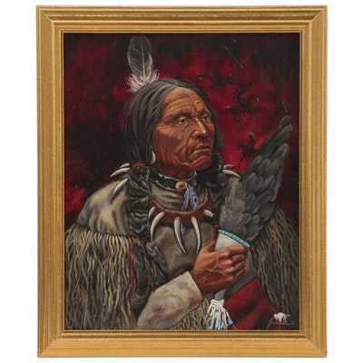 Native American Portrait Oil Painting, 21st Century