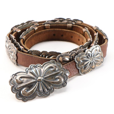 Sterling Silver Southwestern Concho and Brown Leather Belt