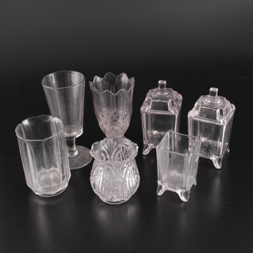 Pressed Glass Celery Vases, Spooner, and Jars, Early to Mid 20th Century
