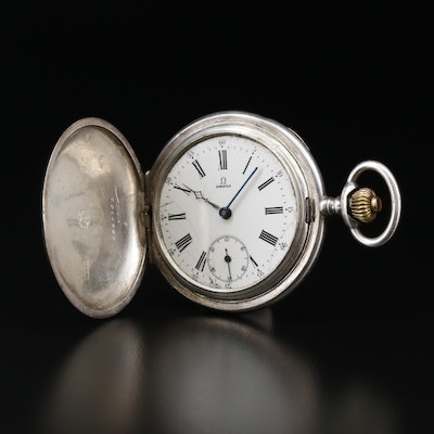 Vintage Omega 900 Silver Hunting Case Pocket Watch