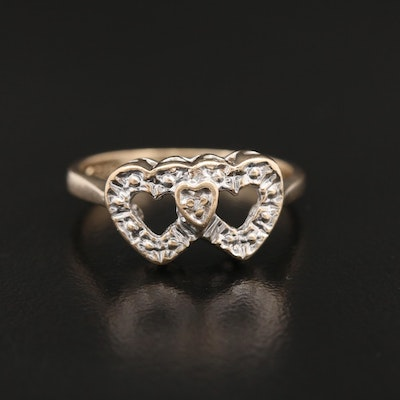 10K Heart Ring with Diamond Accent