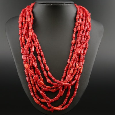 Multi-Strand Coral and 14K Necklace