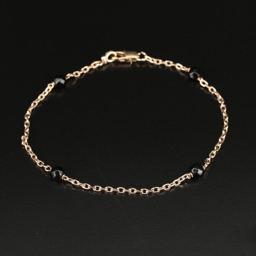 10K Black Onyx Station Ankle Bracelet