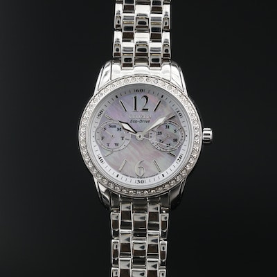 Citizen Eco-Drive Silhouette Crystal and MOP Stainless Steel Wristwatch