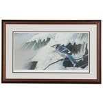 """James B. Williams Limited Edition Offset Lithograph """"Winter Birds Bluejay"""""""
