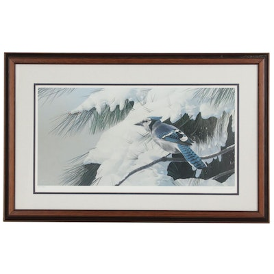 "James B. Williams Limited Edition Offset Lithograph ""Winter Birds Bluejay"""