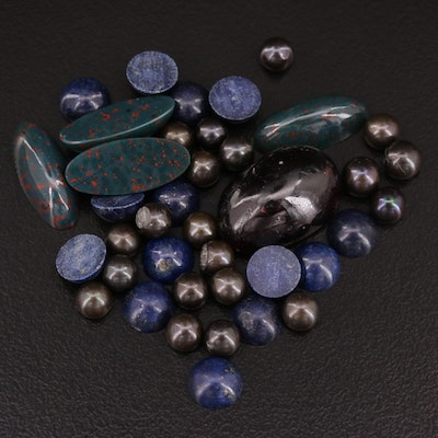 Mixed 45.67 CTW Gemstone Lot Including Pearls, Bloodstone and Lapis Lazuli