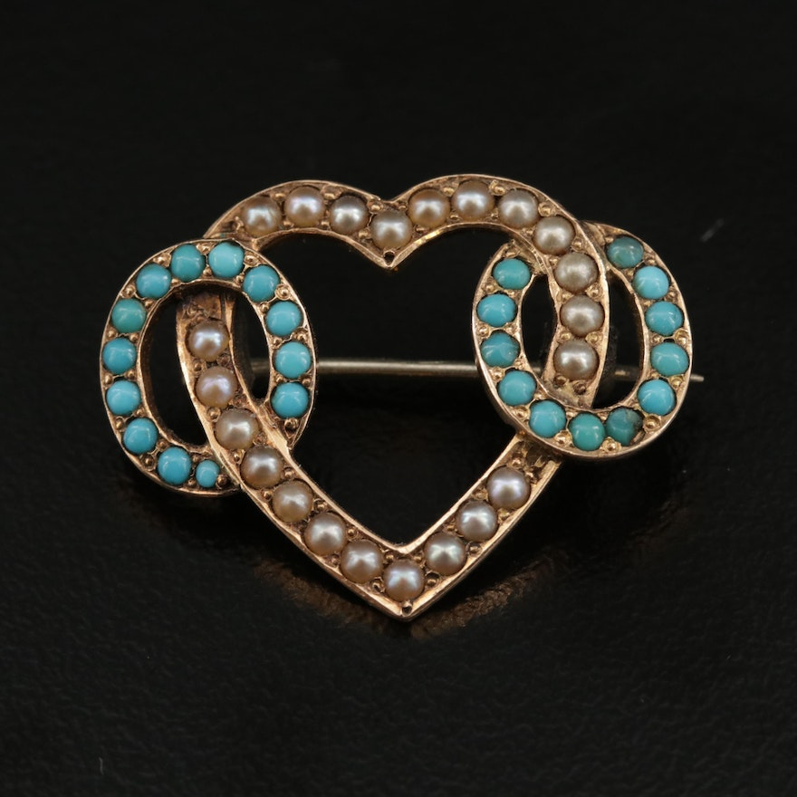 Victorian 14K Seed Pearl and Turquoise Linked Heart Brooch