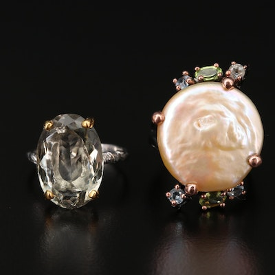 Sterling Silver Rings Featuring Prasiolite, Pearl and Topaz