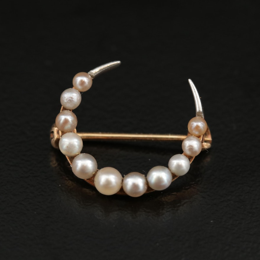 Vintage 14K Seed Pearl Crescent Moon Brooch with Platinum Accents