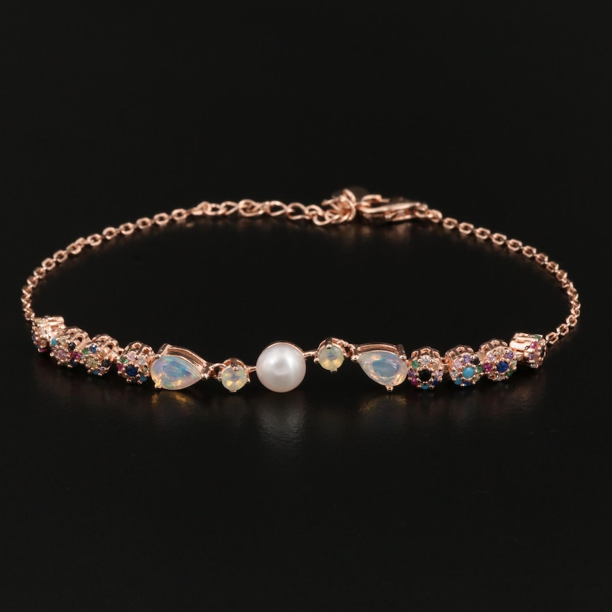 Sterling Silver Cultured Pearl, Opal, and Ruby Bracelet