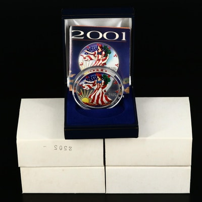 Five Colorized 2001 American Silver Eagle Bullion Coins