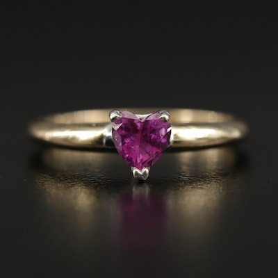 14K Pink Sapphire Heart Faceted Ring