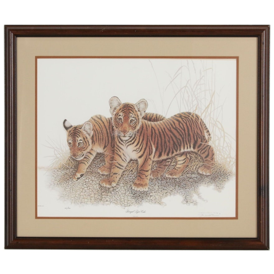 """Jim Oliver Limited Edition Offset Lithograph """"Bengal Tiger Cubs"""", 20th Century"""