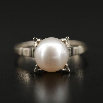 14K Pearl Fancy Prong Ring