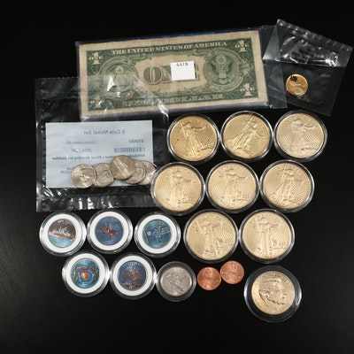 Assortment of U.S. Coins, Currency, and Gold-Plated Replica Coins